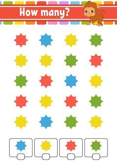 Juego de contar para niños. personajes felices aprendizaje de las matemáticas. ¿cuántos objetos hay en la imagen? hoja de trabajo de educación.