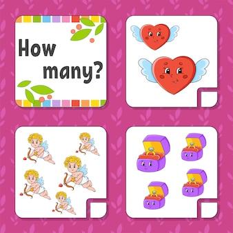 Juego de contar para niños. personajes felices aprendizaje de las matemáticas.
