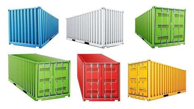Juego de contenedores de carga de envío 3d