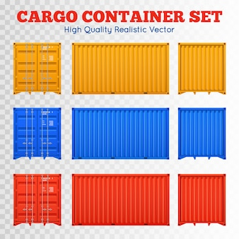 Juego de contenedores de carga transparente