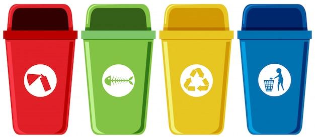 Juego de contenedores de reciclaje.