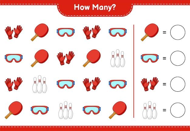 Juego de conteo cuántos guantes de portero y raqueta de ping-pong con gafas de bolos