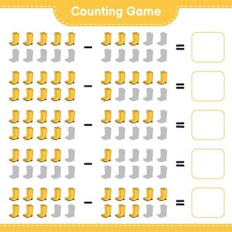 Juego de conteo, cuenta el número de botas de goma y escribe el resultado. juego educativo para niños, hoja de trabajo imprimible