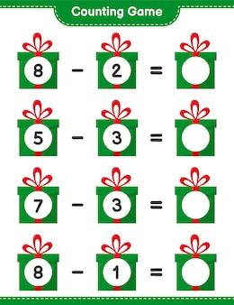 Juego de conteo, cuenta el número de cajas de regalo y escribe el resultado. juego educativo para niños, hoja de trabajo imprimible