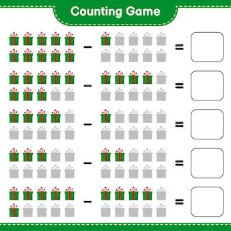 Juego de conteo, cuenta el número de cajas de regalo y escribe el resultado. juego educativo para niños