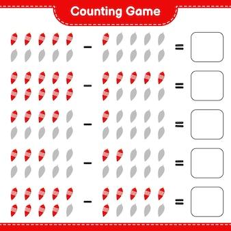 Juego de conteo, cuenta el número de luces navideñas y escribe el resultado. juego educativo para niños