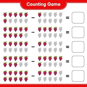 Juego de conteo, cuenta el número de uva y escribe el resultado. juego educativo para niños, hoja de trabajo imprimible