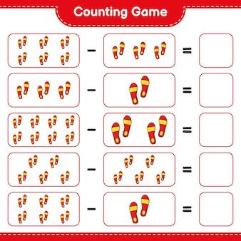 Juego de conteo cuente el número de flip flop y escriba el resultado juego educativo para niños