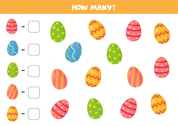 Juego de conteo de huevos de pascua. cuántos hay. hoja de trabajo para niños.
