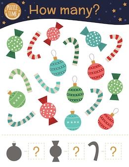 Juego de conteo navideño con bolas, bastones de caramelo, dulces.