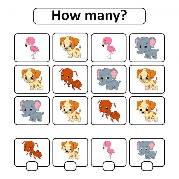 Juego de conteo para niños en edad preescolar. aprendizaje de las matemáticas.