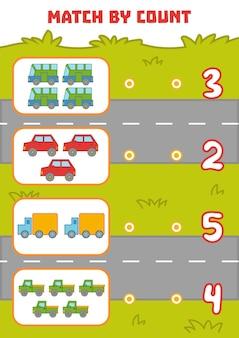 Juego de conteo para niños en edad preescolar cuente los autos en la imagen y elija la respuesta correcta