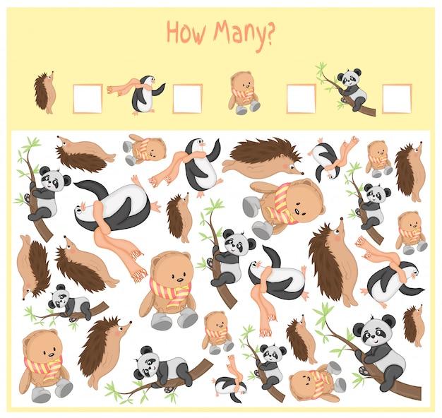 Juego de conteo para niños en edad preescolar. un juego educativo matemático. cuente cuántos elementos y escriba el resultado. animales salvajes y domésticos. naturaleza.