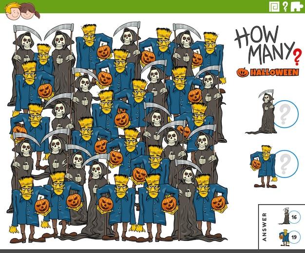 Juego de conteo con personajes cómicos de la parca y zombies de halloween