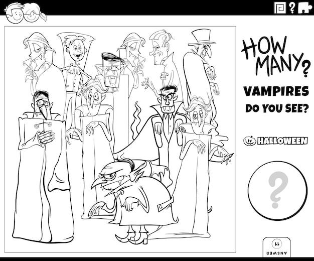 Juego de conteo con vampiros de dibujos animados personajes de halloween página de libro para colorear