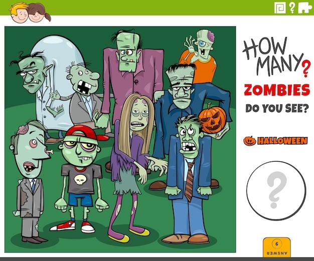Juego de conteo con zombies de dibujos animados grupo de personajes de halloween