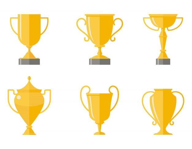 Juego de copas ganadoras. diferentes tazas en estilo plano aislado sobre fondo blanco.