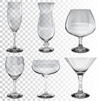 Juego de copas de vidrio transparente vacías para vino, cóctel, champán y coñac