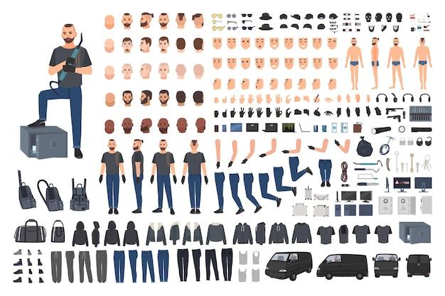 Juego de creación de cracksman, ladrón o cracker seguro o kit de bricolaje. conjunto de partes del cuerpo del personaje de dibujos animados masculinos planos en diferentes poses, ropa y accesorios aislados sobre fondo blanco.