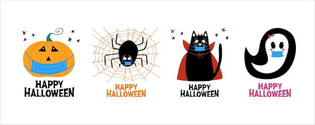 Juego de cuarentena de halloween. jack o lantern, fantasma, gato, araña en mascarilla médica.