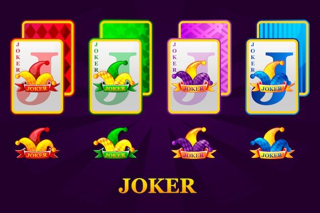 Juego de cuatro juegos de naipes jokers para póker y casino. símbolos de joker poker para casino y gráficos gui.