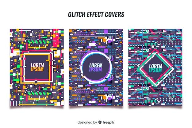 Juego de cubiertas con efecto glitch colorido.