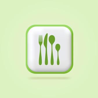 Juego de cubiertos electrodomésticos de cocina tenedor cuchillo cuchara signo de logotipo 3d signo volumétrico banner web