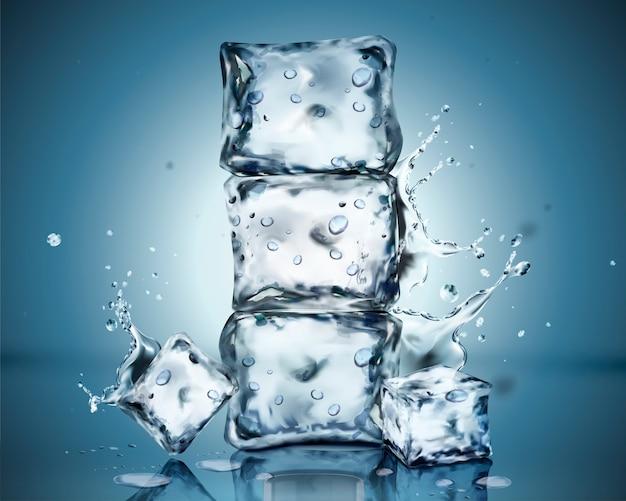 Juego de cubitos de hielo con condensación y salpicaduras de agua sobre fondo azul.