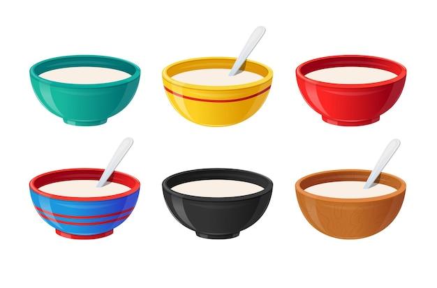 Juego de cuencos de cerámica con leche alimentos saludables