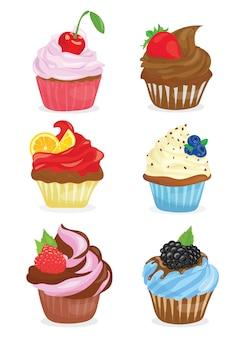 Juego de cupcakes. colección de pasteles de dibujos animados. ilustración de vector de hornear dulce.