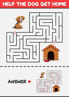 Juego de laberinto: ayuda al perro a llegar a casa