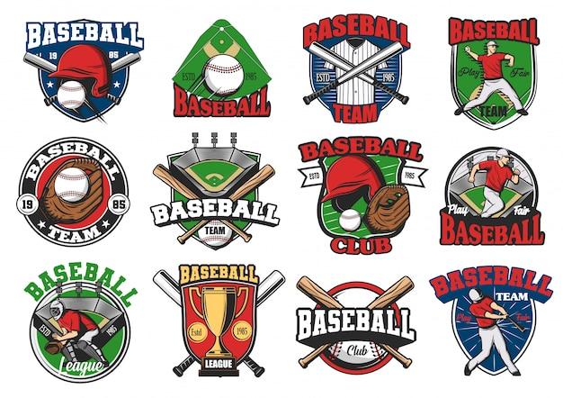 Juego deportivo de béisbol y conjunto de logotipos del equipo
