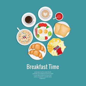 Juego de desayuno. café, tostadas, croissants, tortilla con tocino, frutas, mermelada, avena