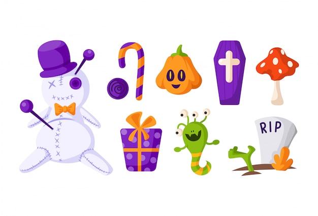 Juego de dibujos animados de halloween: muñeco vudú y linterna de calabaza, cráneo y huesos de miedo, dulces o piruletas, caja de regalo y pastel.