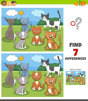 Juego de diferencias con grupo de gatos cómicos