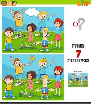 Juego de diferencias con grupo de niños y adolescentes