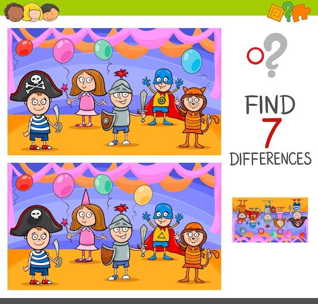 Juego de diferencias con niños en bola de máscaras
