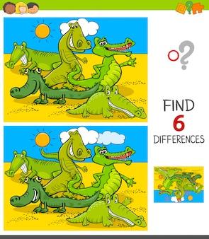 Juego de diferencias con personajes animales de cocodrilos
