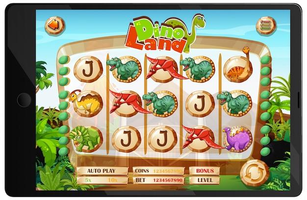 Juego de dinosaurios en la pantalla de la tableta