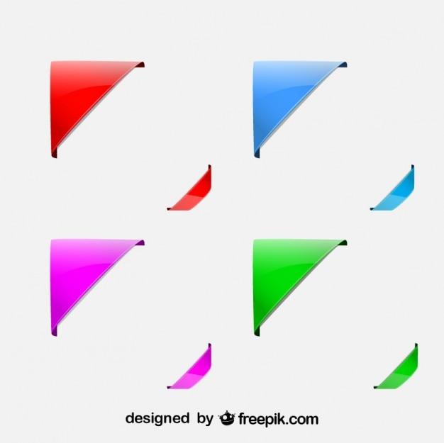 Juego de diseños de esquinas de colores