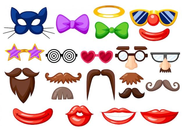 Juego de divertidas máscaras. apoyos de la cabina de la foto del cumpleaños de la fiesta. bigote, gafas, pajarita y bocas en estilo de dibujos animados. ilustración sobre fondo blanco