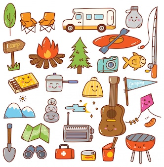 Juego de doodle de kawaii de camping