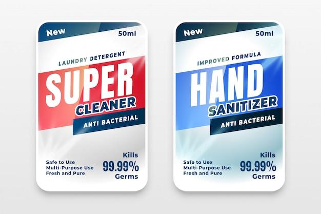 Juego de dos etiquetas de detergente limpiador y desinfectante