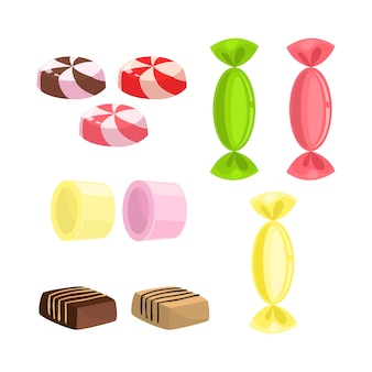 Juego de dulces. colección de ilustración de postre dulce