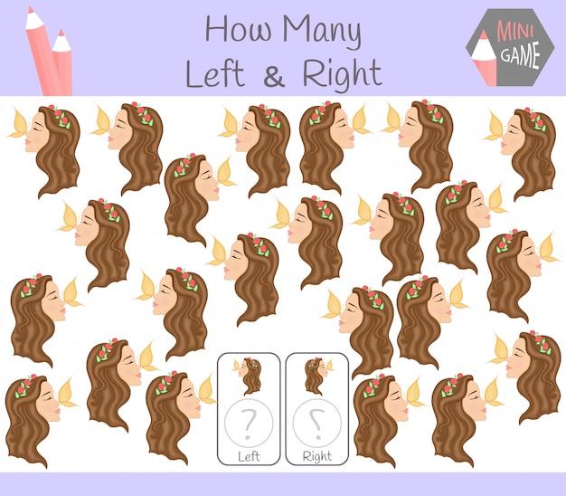 Juego educativo de contar cuadros orientados a izquierda y derecha para niños con niñas.