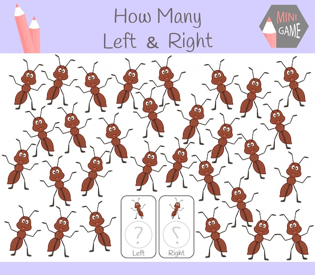 Juego educativo de contar cuadros orientados a izquierda y derecha