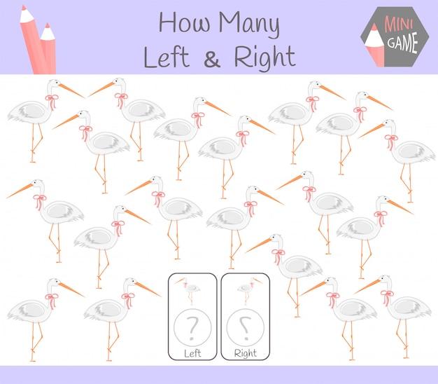 Juego educativo de contar fotos orientadas a la izquierda y la derecha para niños con garza