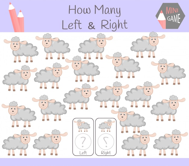 Juego educativo de contar fotos orientadas a la izquierda y la derecha para niños con ovejas