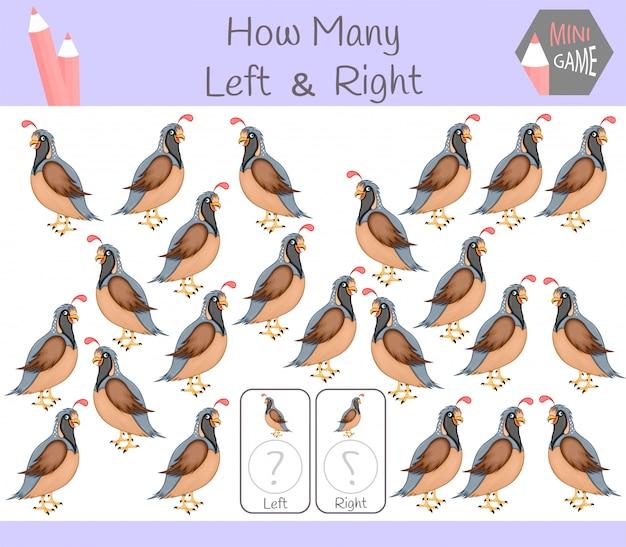 Juego educativo de contar imágenes de la derecha a la izquierda con codorniz