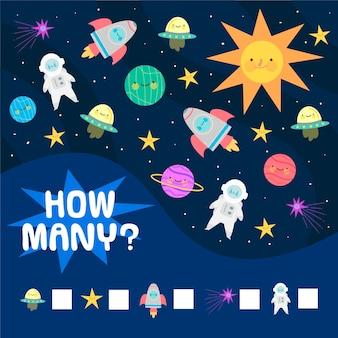 Juego educativo de contar para niños con elementos espaciales.